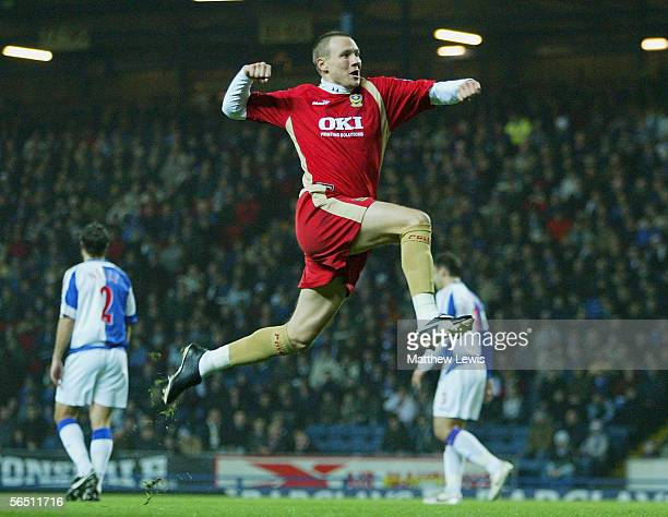 Matthew Taylor of Portsmouth celebrates his goal during the Barclays Premiership match between Blackburn Rovers and Portsmouth at Ewood Park on...