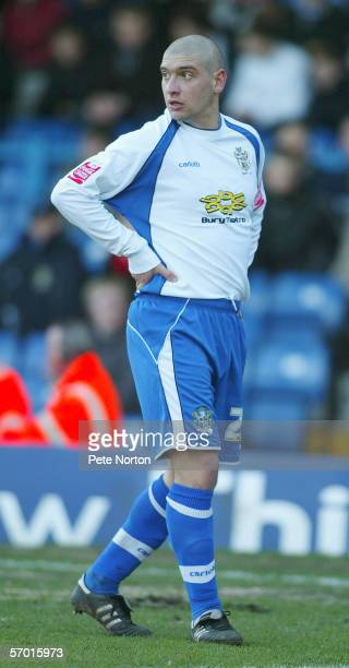 Matthew Tipton of Bury in action during the Coca Cola League Two match between Bury and Northampton Town at Gigg Lane on January 28 2006 in Bury...