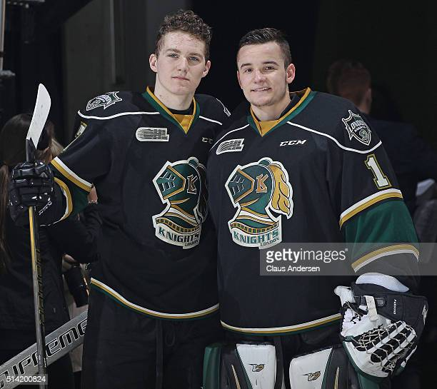 Matthew Tkachuk and Tyler Parsons of the London Knights pose after being named the games 1st and 2nd stars against the Kitchener Rangers during an...