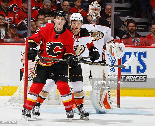 Matthew Tkachuk of the Calgary Flames battles against the Anaheim Ducks at Scotiabank Saddledome on December 29 2016 in Calgary Alberta Canada