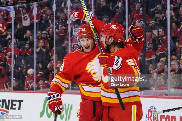 Matthew Tkachuk of the Calgary Flames celebrates after scoring against the St Louis Blues during an NHL game at Scotiabank Saddledome on December 22...