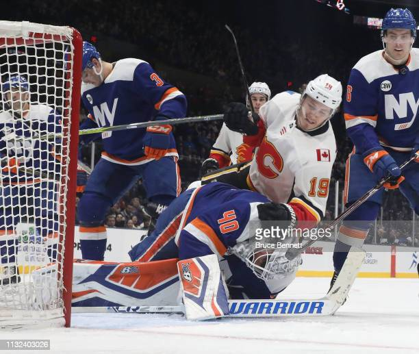 Matthew Tkachuk of the Calgary Flames scores at 257 of the first period on the powerplay against Robin Lehner of the New York Islanders at NYCB...