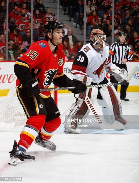 Matthew Tkachuk of the Calgary Flames skates against the Arizona Coyotes at Scotiabank Saddledome on February 18 2019 in Calgary Alberta Canada