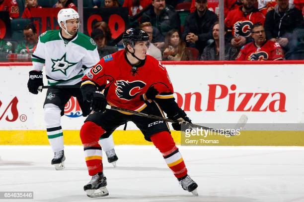 Matthew Tkachuk of the Calgary Flames skates against the Dallas Stars during an NHL game on March 17 2017 at the Scotiabank Saddledome in Calgary...