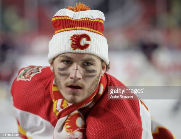Matthew Tkachuk of the Calgary Flames warmups up before taking on the Winnipeg Jets during the 2019 Tim Hortons NHL Heritage Classic at Mosaic...