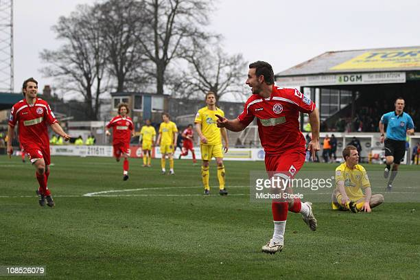 Matthew Tubbs of Crawley Town celebrates scoring the first goal during the FA Cup sponsored by EON 4th round match between Torquay United and Crawley...