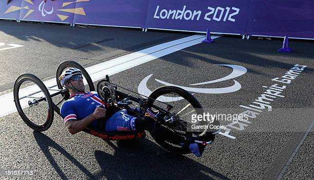Matthew Updike of USA competes in the Mixed H 14 relay on day 10 of the London 2012 Paralympic Games at Brands Hatch on September 8 2012 in Longfield...