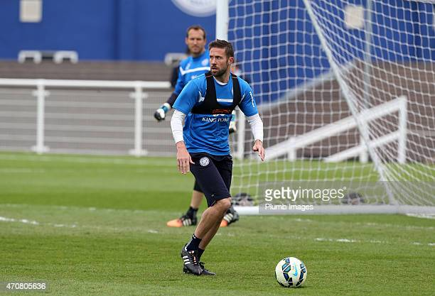 Matthew Upson during the Leicester City training session at Belvoir Drive Training Ground on April 23, 2015 in Leicester, England.