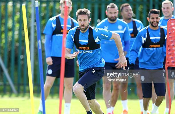 Matthew Upson during the Leicester City training session at Belvoir Drive Training Ground on April 28, 2015 in Leicester, England.