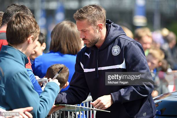Matthew Upson of Leicester City signs autographs prior to the Barclays Premier League match between Leicester City and Southampton at The King Power...