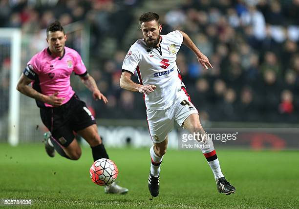 Matthew Upson of Milton Keynes Dons in action during The Emirates FA Cup Third Round Replay match between Milton Keynes Dons and Northampton Town at...