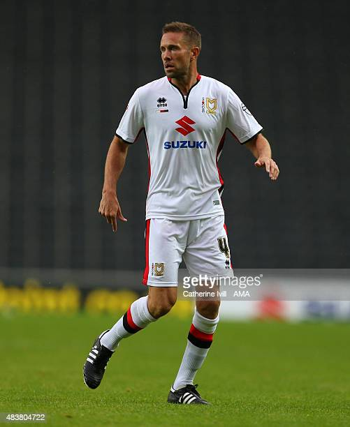 Matthew Upson of MK Dons during the Capital One Cup match between MK Dons and Leyton Orient at Stadium mk on August 11, 2015 in Milton Keynes,...