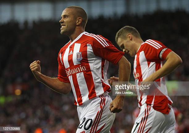 Matthew Upson of Stoke City celebrates after scoring the opening goal during the UEFA Europa League playoff second leg match between Stoke City and...