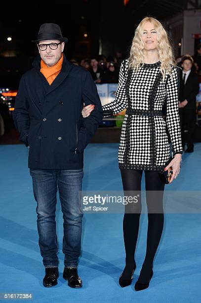 Matthew Vaughan and Claudia Schiffer arrive for the European premiere of 'Eddie The Eagle' at Odeon Leicester Square on March 17 2016 in London...