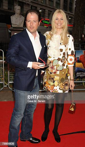 Matthew Vaughn and Claudia Schiffer arrive at the UK film premiere of 'Spider-Man 3', at Odeon Leicester Square on April 23, 2007 in London, England.