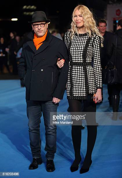 Matthew Vaughn and Claudia Schiffer arrive for the European premiere of 'Eddie The Eagle' at Odeon Leicester Square on March 17 2016 in London England