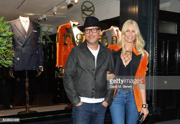Matthew Vaughn and Claudia Schiffer attend the launch of the 'Kingsman' shop on St James's Street in partnership with MR PORTER MARV Twentieth...
