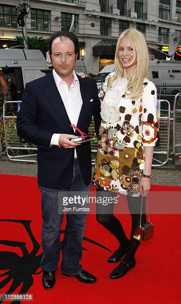 Matthew Vaughn and Claudia Schiffer during 'SpiderMan 3' London Premiere Inside Arrivals at Odeon Leicester Square in London United Kingdom