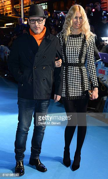 Matthew Vaughn and Claudia Shiffer attend the European Premiere of Eddie The Eagle at Odeon Leicester Square on March 17 2016 in London England