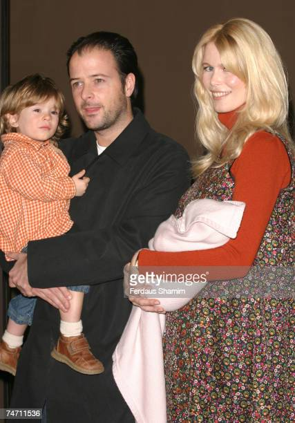 Matthew Vaughn, son Casper, Claudia Schiffer and new baby daughter Clementine at the Portland Hospital in London, United Kingdom.