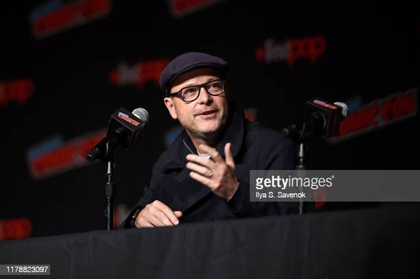 "Matthew Vaughn speaks onstage during ""The King's Man"" at New York Comic Con at The Jacob K. Javits Convention Center on October 03, 2019 in New York..."