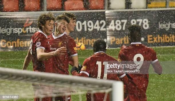 Matthew Virtue of Liverpool celebrates his goal with team mates Neco Williams Liam Millar Bobby Adekanye and Toni Gomes during the Liverpool v Porto...