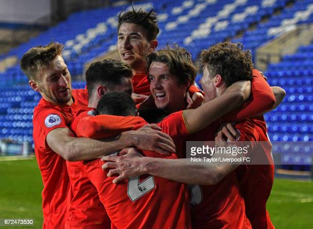 Matthew Virtue of Liverpool celebrates his winning goal with teammates Nathaniel Phillips Harry Wilson Trent AlexanderArnold Marko Grujic and Jordan...
