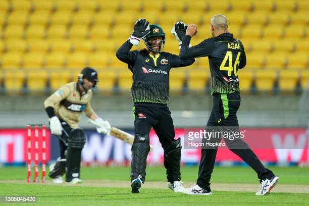Matthew Wade and Ashton Agar of Australia celebrate the wicket of Devon Conway of New Zealand during game three of the International T20 series...