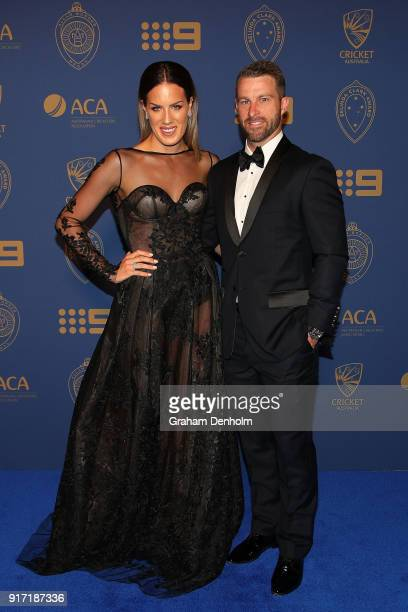 Matthew Wade and Julia Wade arrive at the 2018 Allan Border Medal at Crown Palladium on February 12 2018 in Melbourne Australia