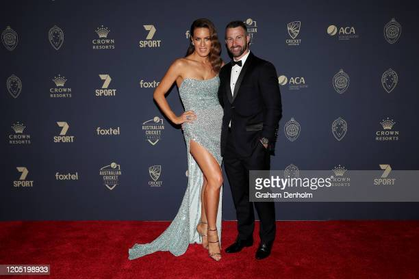 Matthew Wade and wife Julia Wade arrive ahead of the 2020 Cricket Australia Awards at Crown Palladium on February 10 2020 in Melbourne Australia