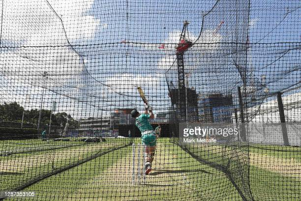 Matthew Wade bats during an Australian nets session ahead of the One Day International series at Sydney Cricket Ground on November 24, 2020 in...