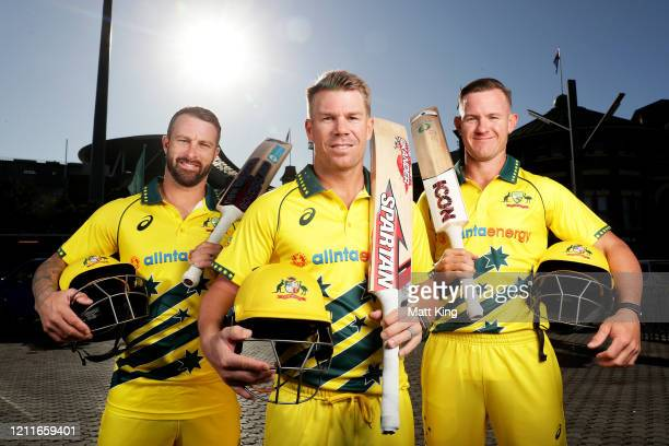 Matthew Wade, David Warner and D'Arcy Short pose during the Australia v New Zealand Men's Retro ODI Series Launch at Sydney Cricket Ground on March...
