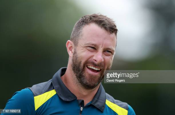 Matthew Wade looks on during the Australia nets practice at Edgbaston on July 10, 2019 in Birmingham, England.