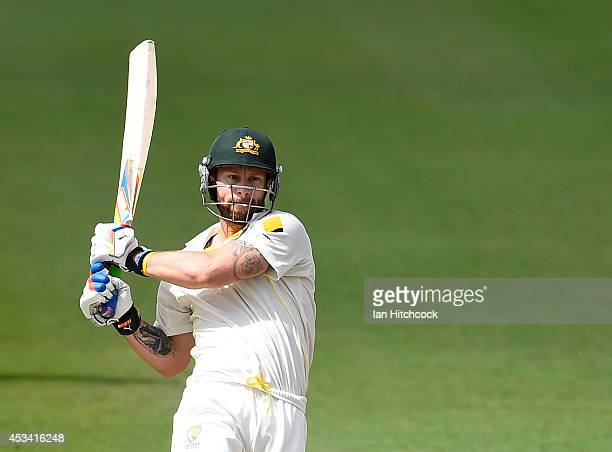 Matthew Wade of Australia 'A' bats during the match between Australia 'A' and South Africa 'A' at Tony Ireland Stadium on August 10 2014 in...