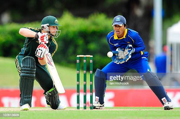 Matthew Wade of Australia 'A' bats in front of Dinesh Chandimal of Sri Lanka 'A' during the One Day match between Australia 'A' and Sri Lanka 'A' at...