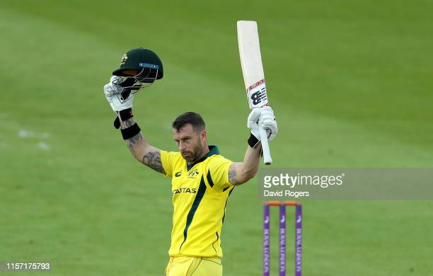 Matthew Wade of Australia A celebrates after scoring a century during the Tour Match between Northamptonshire and Australia A at The County Ground on...