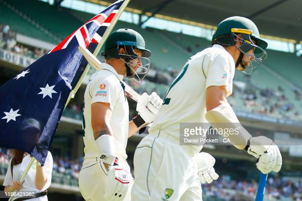 Matthew Wade of Australia and Travis Head of Australia walk out during day four of the Second Test match in the series between Australia and New...