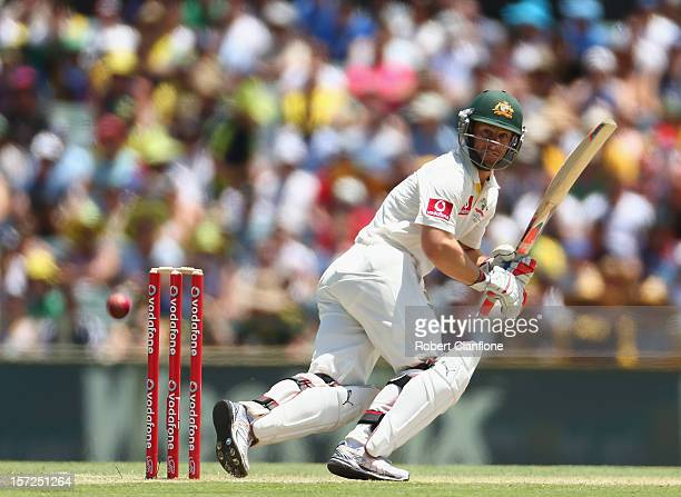 Matthew Wade of Australia bats during day two of the Third Test Match between Australia and South Africa at WACA on December 1 2012 in Perth Australia