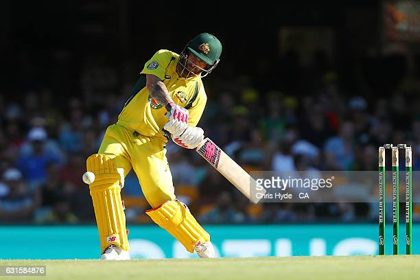 Matthew Wade of Australia bats during game one of the One Day International series between Australia and Pakistan at The Gabba on January 13 2017 in...