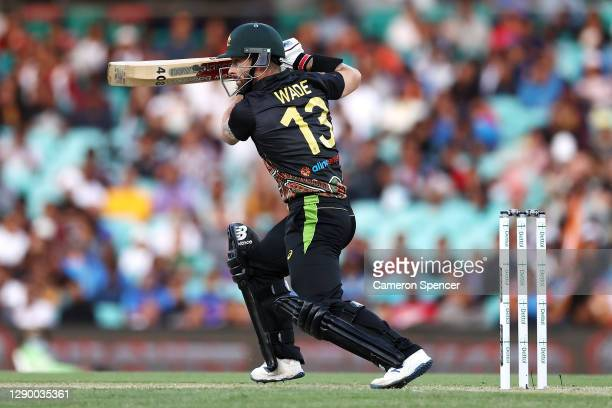 Matthew Wade of Australia bats during game three of the Twenty20 International series between Australia and India at Sydney Cricket Ground on...