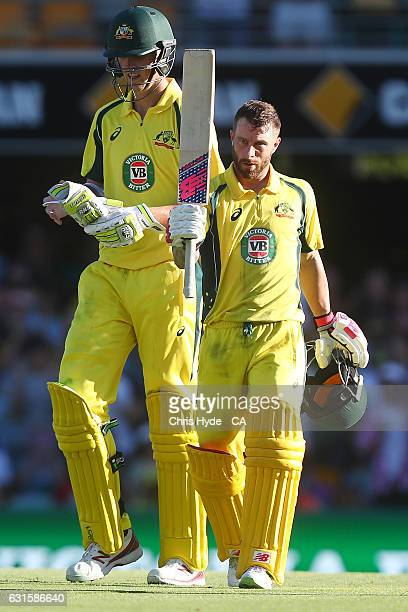 Matthew Wade of Australia celebrates his Century with team mate Billy Stanlake during game one of the One Day International series between Australia...