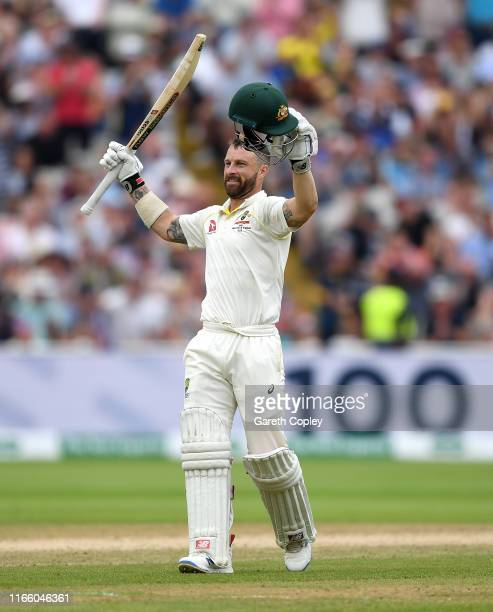 Matthew Wade of Australia celebrates reaching his century during day four of the 1st Specsavers Ashes Test between England and Australia at Edgbaston...