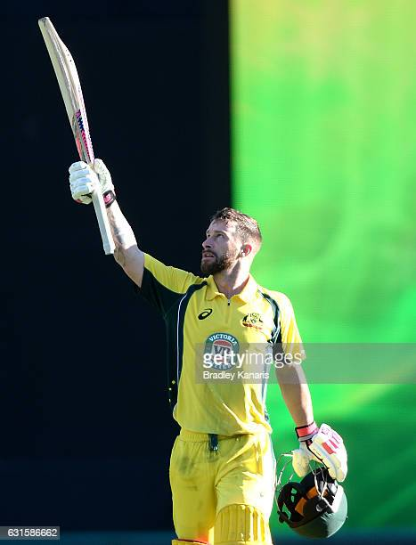 Matthew Wade of Australia celebrates scoring a century during game one of the One Day International series between Australia and Pakistan at The...