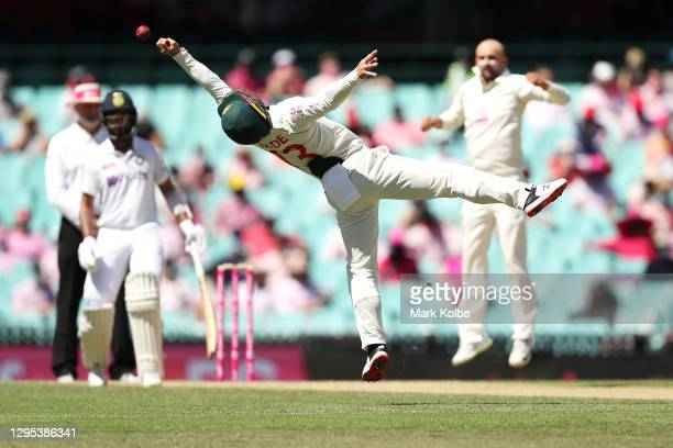 Matthew Wade of Australia drops a catch from Ajinkya Rahane of India during day three of the Third Test match in the series between Australia and...