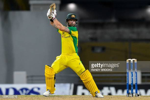 Matthew Wade of Australia hits 4 during the 3rd and final ODI between West Indies and Australia at Kensington Oval, Bridgetown, Barbados, on July 26,...