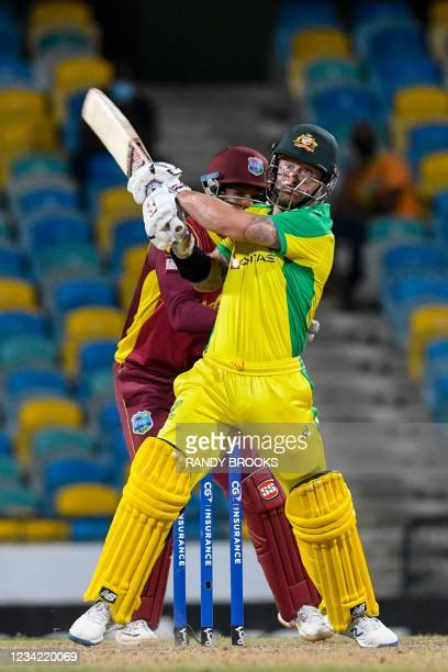 Matthew Wade of Australia hits 6 during the 3rd and final ODI between West Indies and Australia at Kensington Oval, Bridgetown, Barbados, on July 26,...