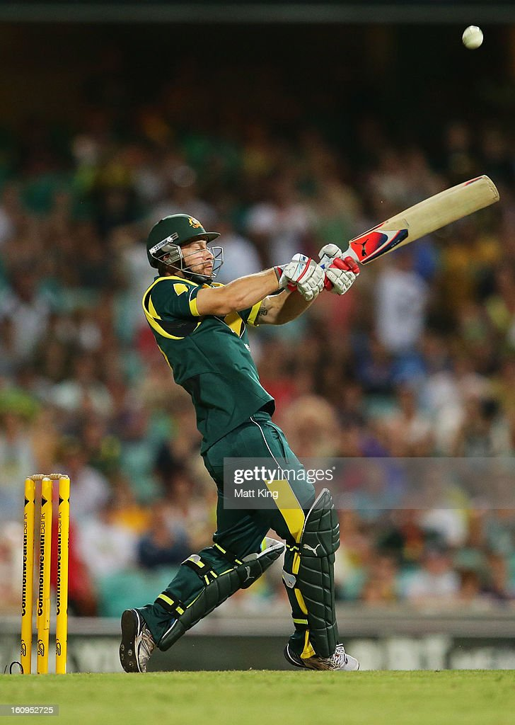 Matthew Wade of Australia hits a six off a free hit during game four of the Commonwealth Bank One Day International Series between Australia and the West Indies at Sydney Cricket Ground on February 8, 2013 in Sydney, Australia.
