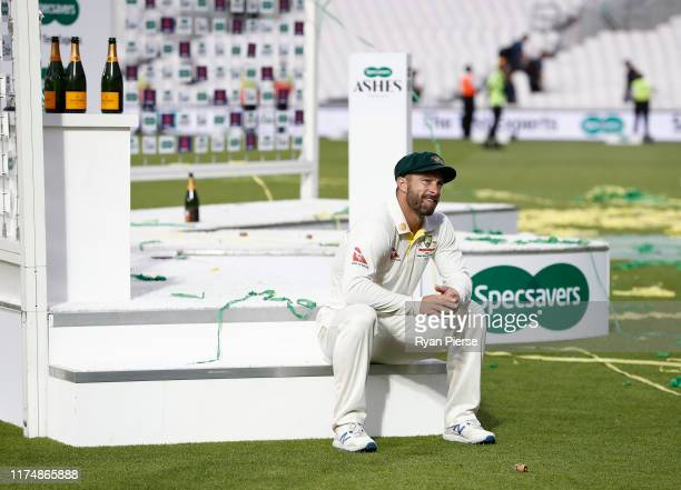Matthew Wade of Australia looks on after Australia drew the series and retained the Ashes during day four of the 5th Specsavers Ashes Test between...