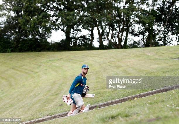 Matthew Wade of Australia looks on during a training session at The Ageas Bowl in Southampton on July 21 ahead of the first Ashes cricket test match...