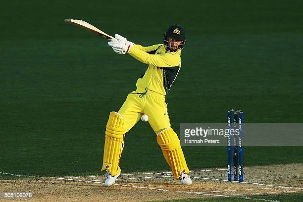Matthew Wade of Australia plays the ball away for a single during the One Day International match between New Zealand and Australia at Eden Park on...